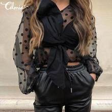 Sexy See-through Mesh Blouses Women Celmia Plus Size Dot Print Tops Casual Long Sleeve Bow Tie Shirt Elegant Chiffon Blusas 2020(China)