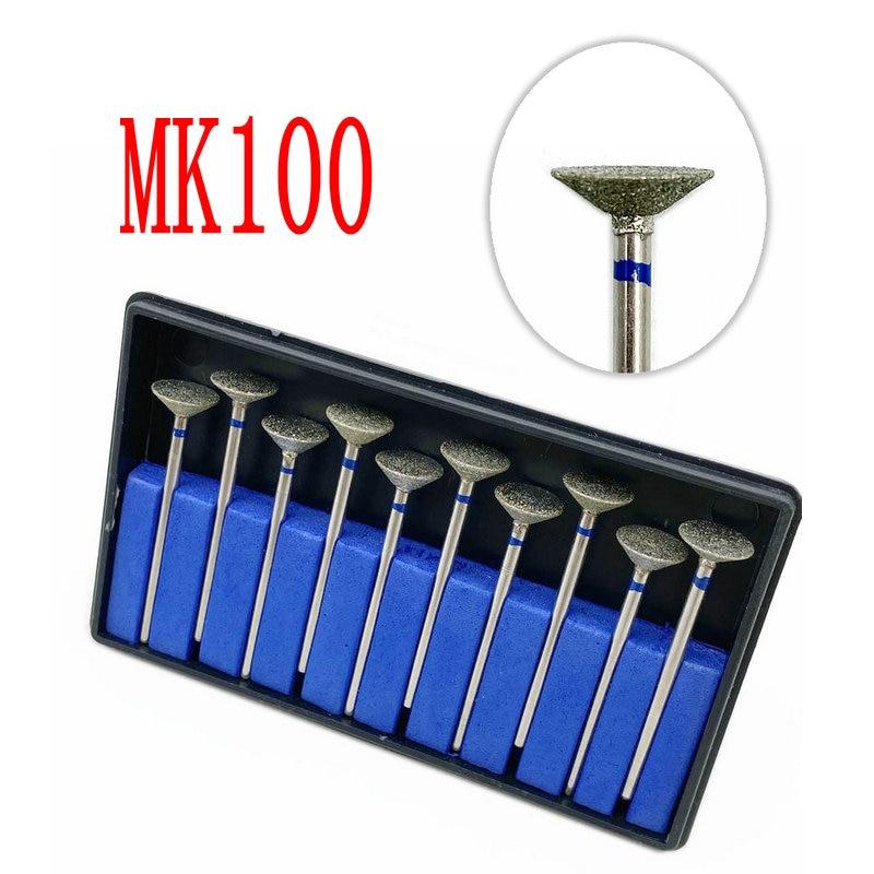 10pcs Type MK100 Dental Part Electroplated Diamond Point Polisher Dental HP Diamond Burs HP Rotary Bur Set Dental Lab
