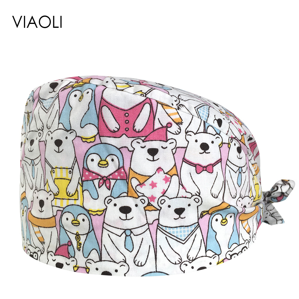 VIAOLI Men Women Medical Scrubs Pharmacy Work Cap Surgery Nurse Hat Oral Cavity Dental Clinic Pet Veterinary Surgical Cap085