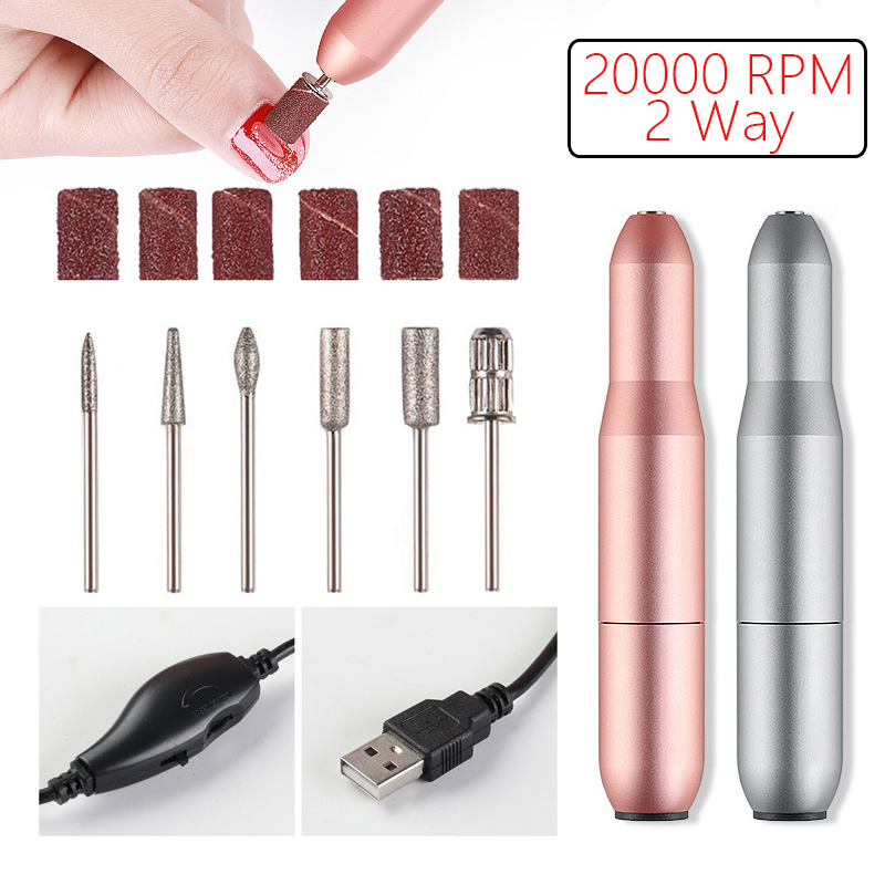 2 Way Rotate Electric Nail Drill Machine 20000 RPM USB Portable Apparatus For Manicure Pedicure Nail Drill Kit Nail Art Tools