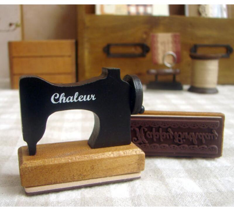 1pcs/lot Kawaii Sewing Machine Iron Wooden Rubber Stamps For Scrapbooking Handmade DIY Stamp Photo Album Craft Gift Supplies