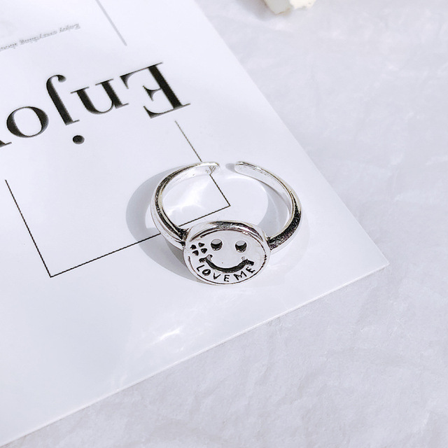 Retro Neutral Multi-layer Smiley Face Wide Ring for Women Antique Silver Color Opening Student Ring Hip-hop Punk Trend New 2020 3