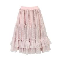 New 2 14T Polka Dot Girls Pink Tutu Skirt Kids Children Autumn Princess Long Ruffle Skirts Cotton Lining Mesh Pleated Pettiskirt
