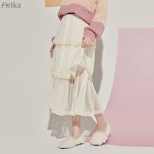 Женская плиссированная юбка с кружевом artka розовая элегантная