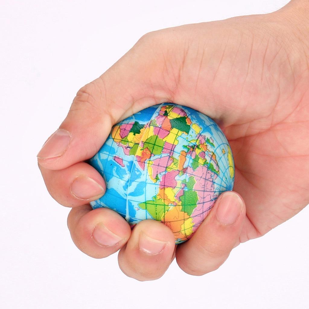 60mm Stress Relief World Map Foam Ball Atlas Globe Palm Ball Planet Earth Ball Soft Rubber  High Quality Z0729