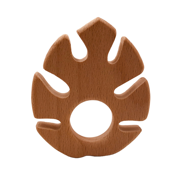 DIY Cartoon Leaves Natural Beech Woode Teether Pacifier Chain 3C Safety Certification Wooden Baby Teether Toys For Newborn Gift