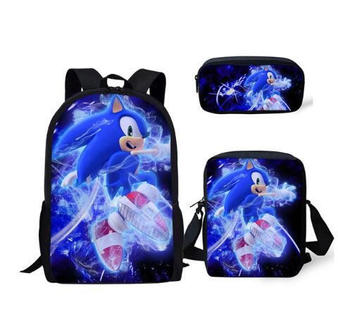 3PC/Set Backpack Hot Game Sonic 4 The Hedgehog Pattern Students School Bags Cartoon Anime Teenagers Book-Bags