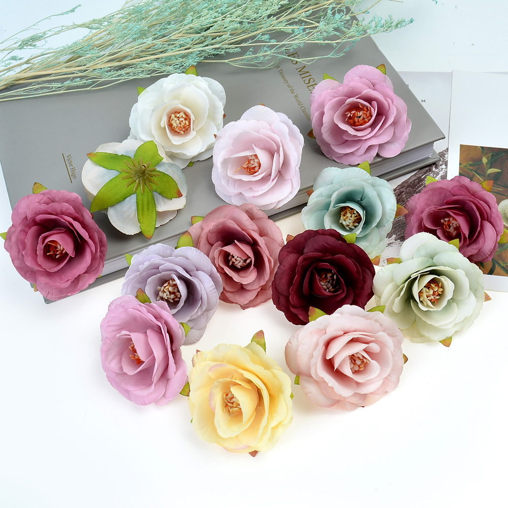 10pcs new artificial flower silk tea Rose head For wedding home Christmas decoration DIY wreath scrapbook gift box fake flower in Artificial Dried Flowers from Home Garden