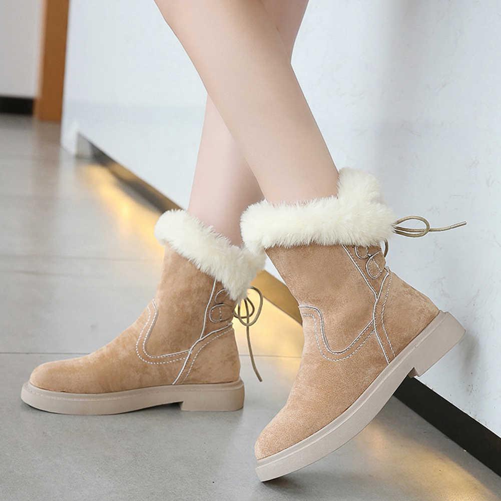 Temel akın kısa peluş kauçuk yuvarlak Toe Slip-On katı yarım çizmeler eğlence rusya sıcak kar botları tutmak kadın ayakkabısı kadın