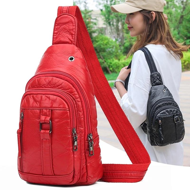 BolsosSac Casual Women's Chest Bags Luxury Pu Leather Soft Shoulder Bag Ladies Fashion Out Small Handbag Messenger Bag 2020 New