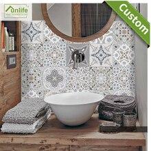 Funlife CUSTOM10/15/20/25/30cm Retro DIY PVC Waterproof  Wall Decals Art Furniture Bathroom Kitchen Tile Sticker pack of 10