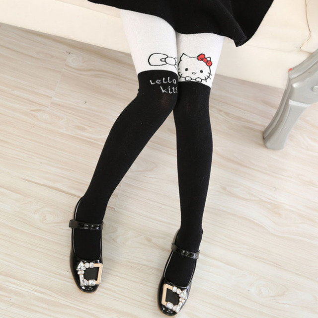 Disney Pantyhose For Girls Cute Hello Kitty Cartoon Tights Girls Infant Stockings Spring Thin Knitted Kids Children`s Pantyhose 4