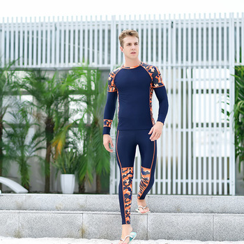 Qian shuo xin-Sun-resistant Jellyfish Men Long Sleeve Long Legs Students Sports Training Set Surfing Camouflage Bathing Suit