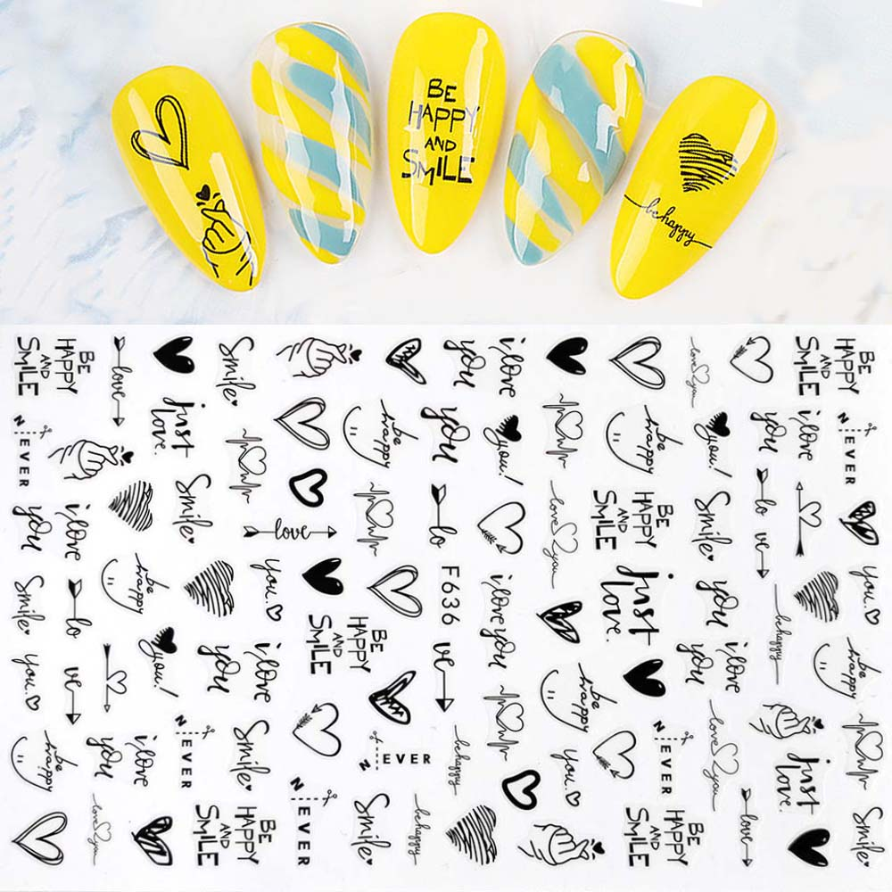1pcs Black Line 3D Nail Art Stickers Leaves Flower Panda Heart Pattern Adhesive Transfer Decals Manicure Nail Decoration