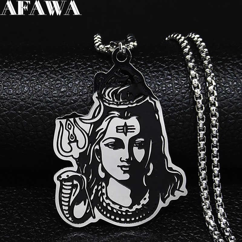 שחור אמייל נירוסטה שיווה פרוואטי גנש ההודי אמנות ההינדית אלוהים דמות דתי שרשראות תליוני תכשיטי N3224S02