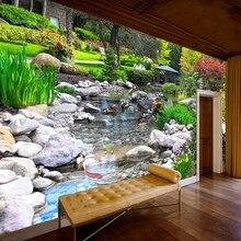 Самоклеящиеся обои на заказ, классические 3D-обои с изображением парка, потока, камня, природного ландшафта, гостиной, спальни, домашний деко...