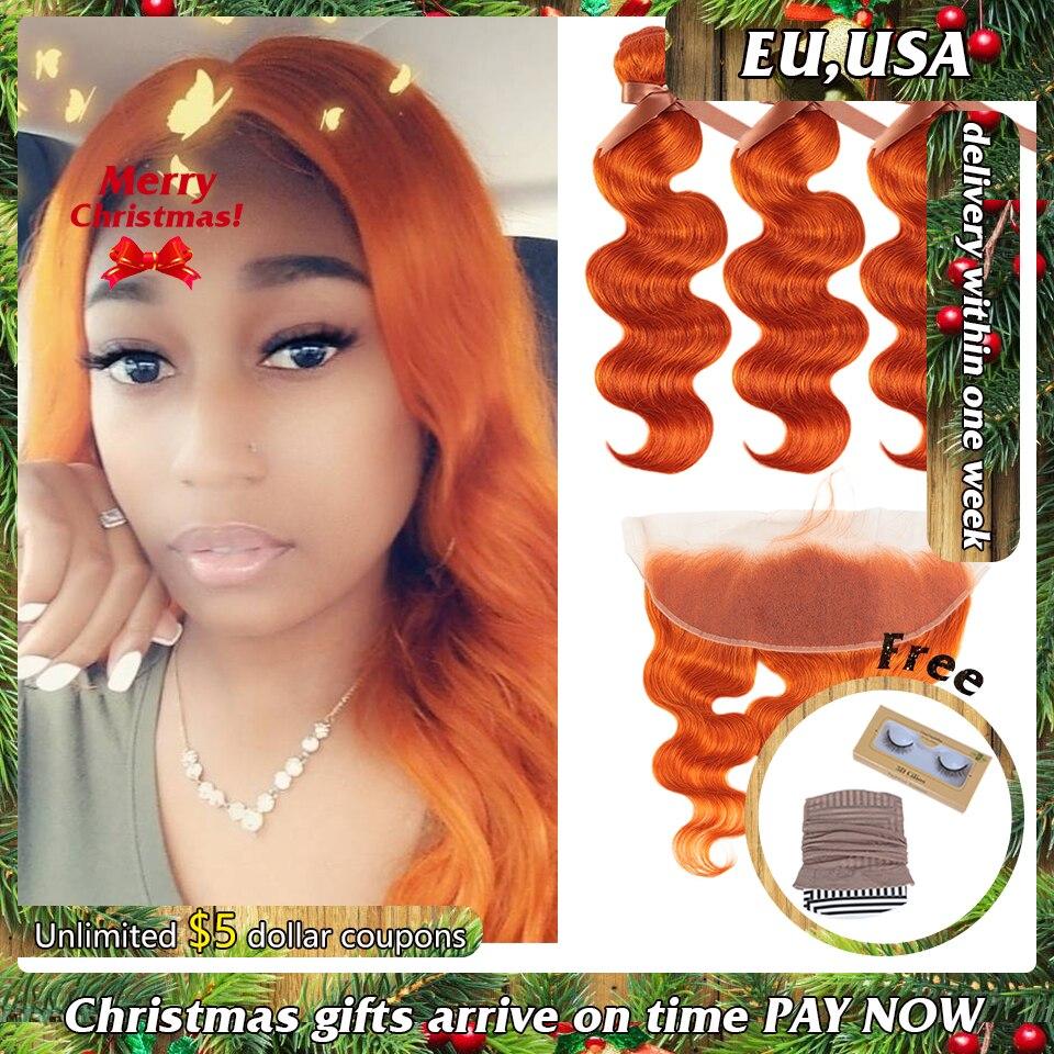 Remy Forte Body Wave Hair Bundles With Closure Colored Orange Bundles With Frontal Remy Brazilian Hair Weave Bundles 3/4 Bundles