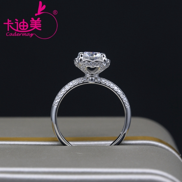 CADERMAY S925 Silver Jewelry 1CT Round Brilliant Cut Flower Style Moissanite Diamond Wedding Ring Band For Ladies Hot Sale 4