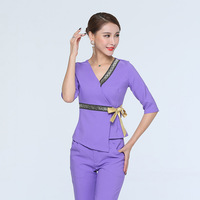 Women's Trendy Waistband Scrubs Set/Medical Uniforms/ Beauty Parlor/Spa Club Tunics/High Quality
