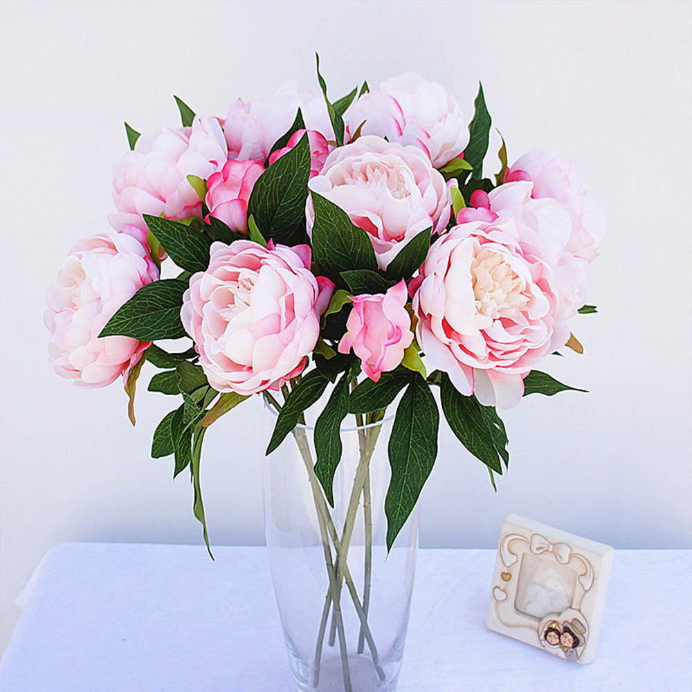 3 Heads 1 Bundle Cheap Peony Bouquet Vase Flower Arrangement Home Decor Wedding Decoration Artificial Flowers For Scrapbooking Leather Bag