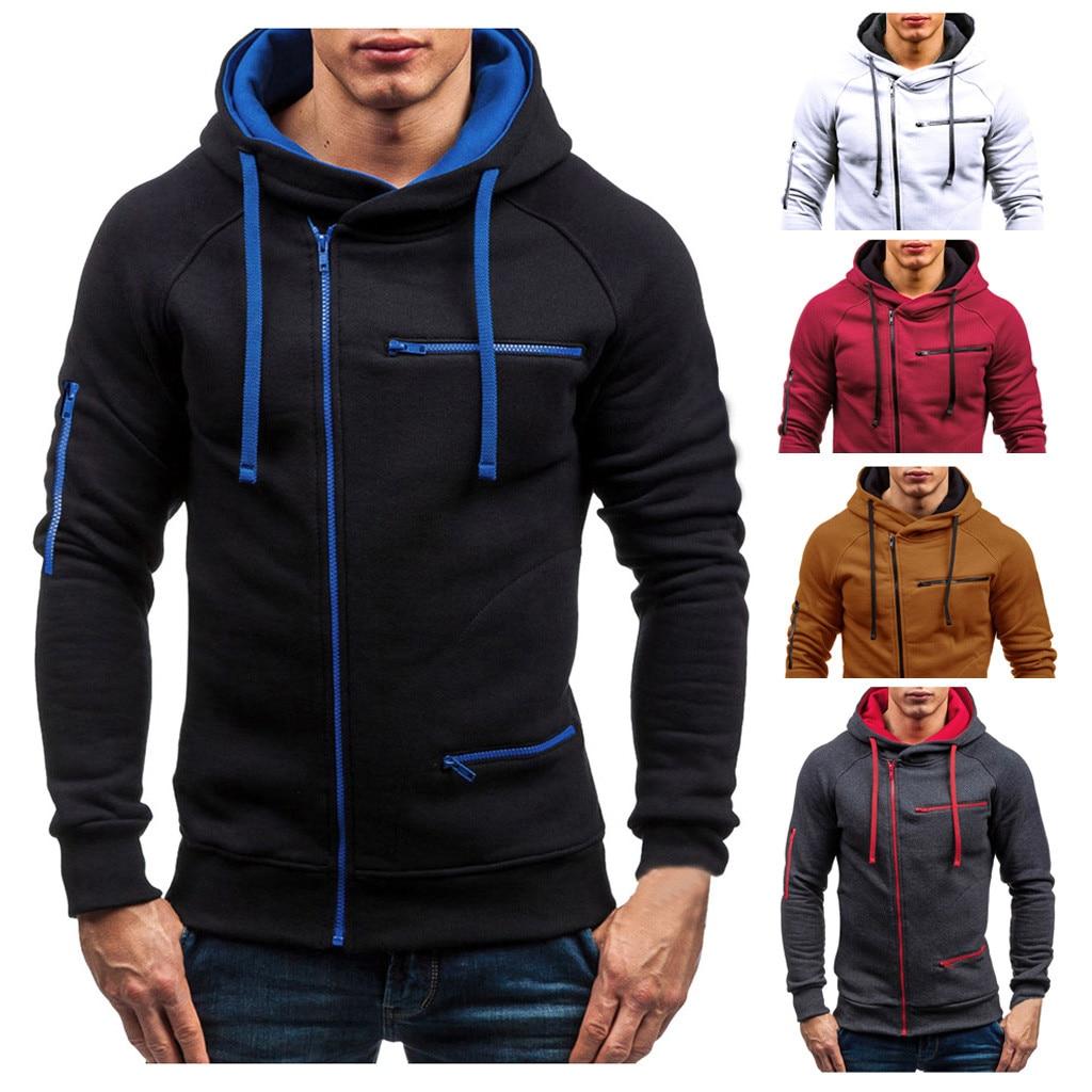 1 PC Men Autumn Long-sleeved Casual Solid Color Hooded Comfortble Wram Turtleneck Sweatshirt M1001