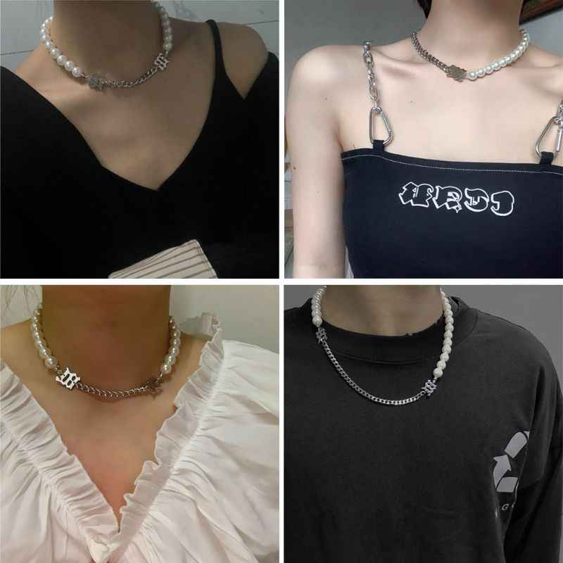 2Pcs נשים אלגנטי לבן פנינת מתכת קולר צמיד שרשרת הצהרת תכשיטי סט תכשיטים