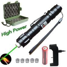 Зеленая лазерная указка высокой мощности, 5 мВт, красный точечный Лазер светильник мощная цветная лазерная ручка с регулируемым фокусом от 500 до 5000 метров, лазер 009