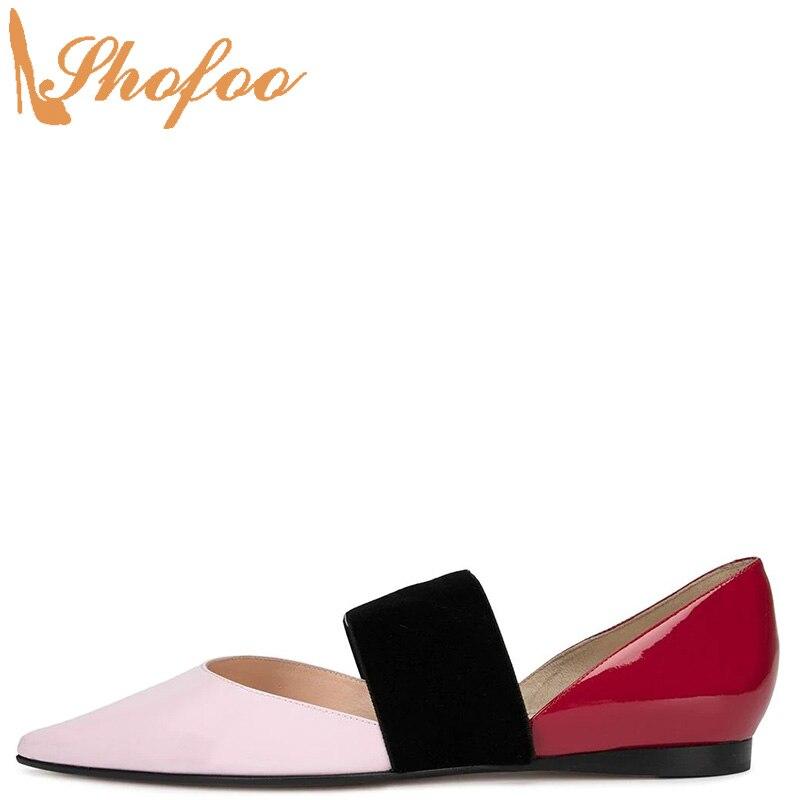 Rose rouge Double couleur chaussures plates femmes sans lacet élastique grande taille 12 16 dames en cuir verni chaussures bout pointu mode Mature Shofoo