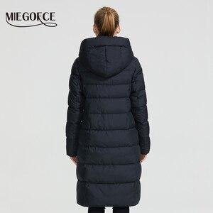 Image 4 - MIEGOFCE 2020 חדש חורף נשים אוסף מעיל Ladie חורף מעיל מתחת הברך אורך חם מעיל עם ברדס להגן על Ffrom רוח קר