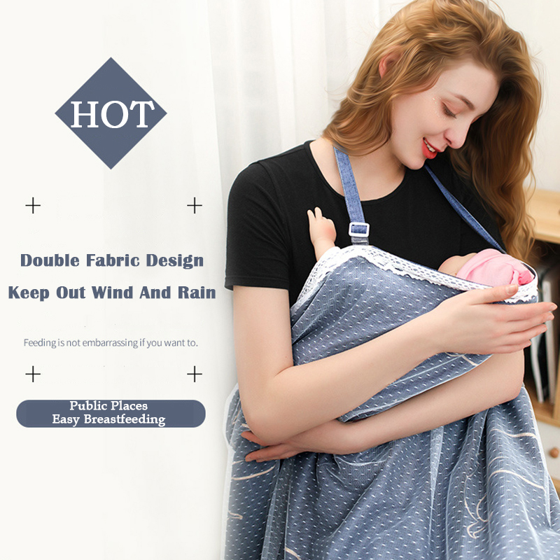 Breastfeeding Cover Apron Nursing Cover Scarf with Pockets Privacy Feeding Apron