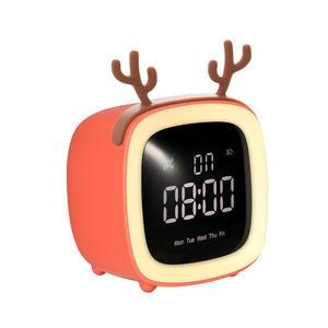 Alarm-Clock Night-Lights Time-Date-Display Snooze-Function Brightness Adjustable Cute