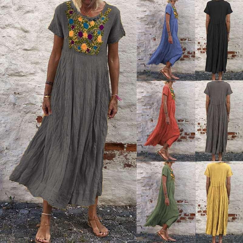 2020 Summer Sundress ZANZEA Embroidery Bohemian Dress Women Casual Loose Short Sleeve Midi Vestidos Ladies Long Shirt Dresses