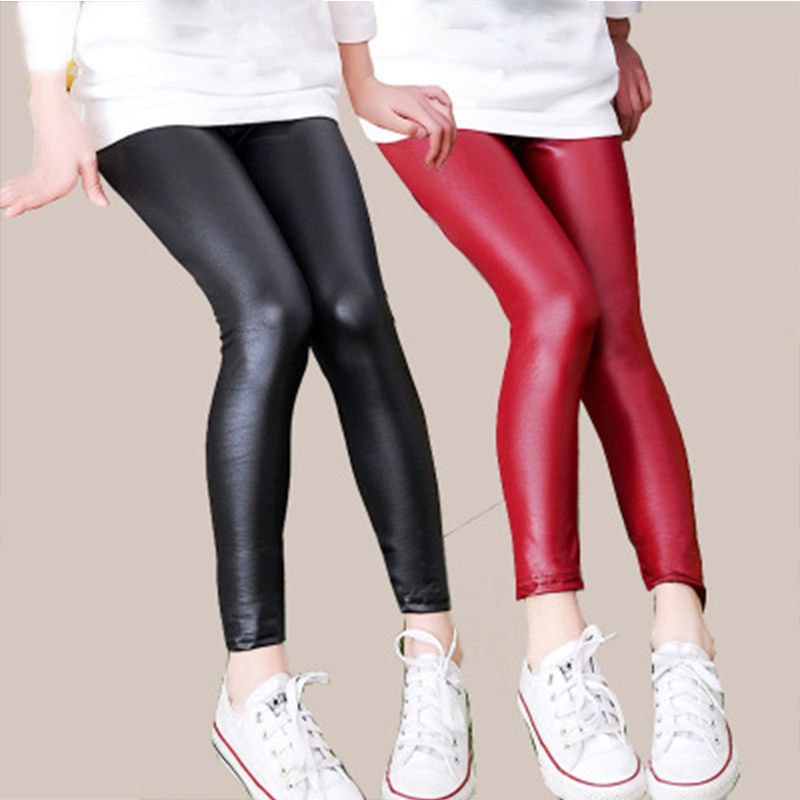 Children Winter 2 Style Pants Faux PU Leather Girls Skinny Pencil Pants Infants Plus Velvet Fashion Bottoming Pant Baby Clothes