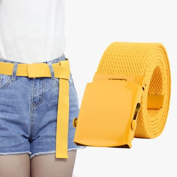 Men Women Automatic Fashion Nylon Belt Buckle Fans Canvas Thicken Long Cloth Belts Knitted Waistband Ceintures Homme