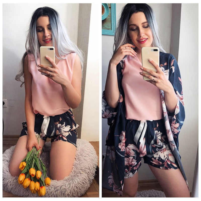 JULY'S SONG 4 Piece Spring Summer Women Pajamas Sets Floral Printed Viscose Robe Top and Shorts Female Sleepwear Night Suit