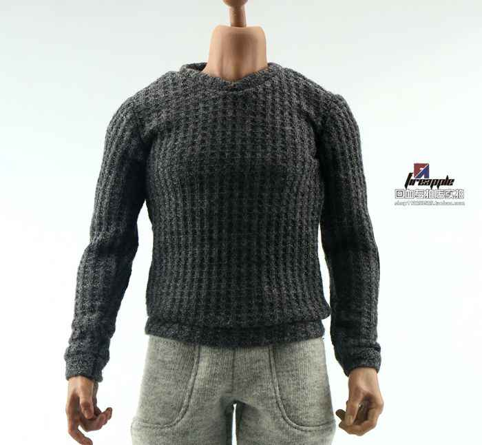 "1//6 Grey Casual Sweater Accessories For 12/"" Male Normal Figure Body Model Toy"