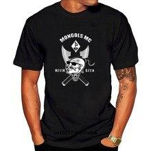 Camiseta masculina mongols mc remendos impressos gráficos topos preto tamanho S-4XL