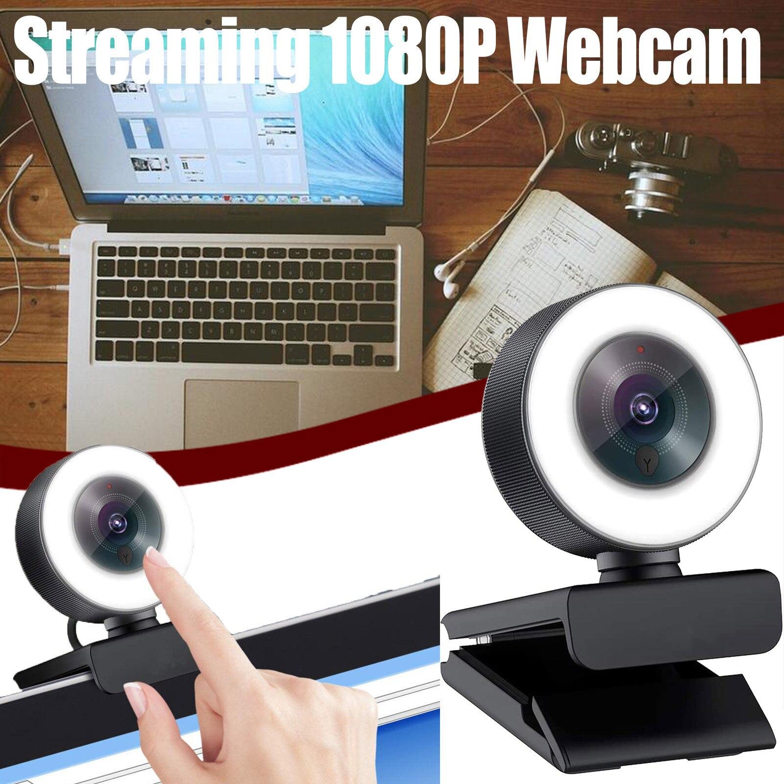 Бесплатная доставка, CARPRIE потоковая веб-камера 1080P, веб-камера с регулируемым кольцесветильник светом/быстрой автофокусировкой, веб-камера