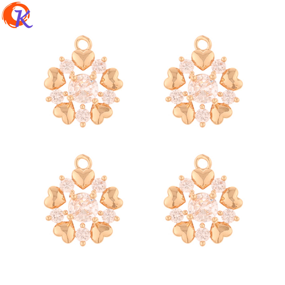 Cordial Design 50Pcs 13*16MM CZ Charms/Jewelry Accessories/Flower Shape/DIY Making/Hand Made/Earring Findings/Rhinestone Pendant