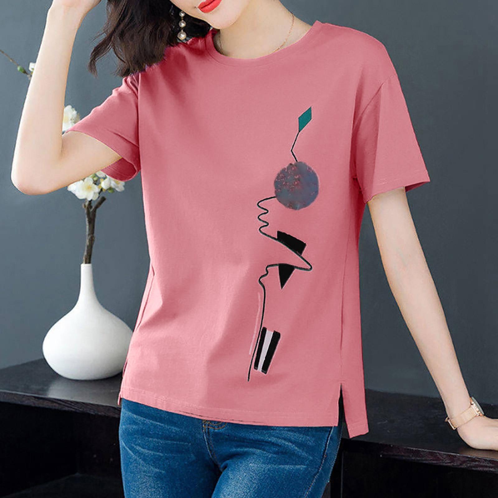 4# Short Sleeve Women's T-shirts Vintage Printed O-neck Punk Ladies T-shirt Tops T Shirt Women Women Clothing 2021 Футболка 3