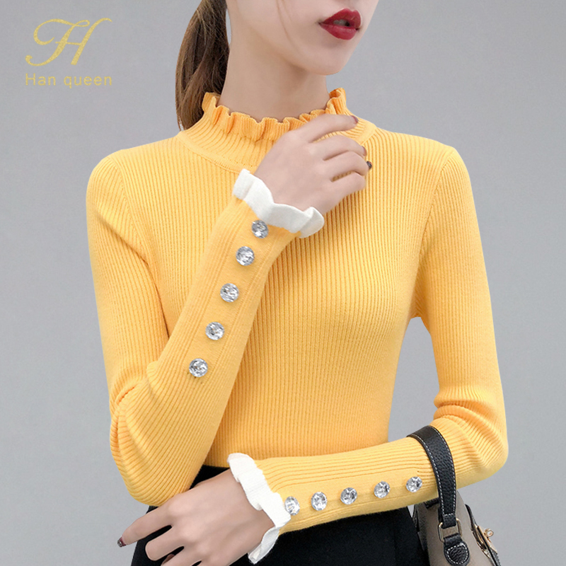 H han queen New 2019 Autumn Winter Beading Turtleneck Sweater Long Sleeve Soft Pullover Knitted Elasticity Jumper Casual Tops