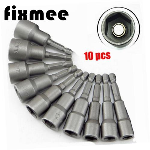 10pcs 1/4 inch Hex Magnetic Nut Driver Socket Set 6/7 / 8/10/ 12/ 13/<font><b>14</b></font>/15/17/19mm Metric Impact Drill <font><b>Bits</b></font> <font><b>Adapter</b></font> image
