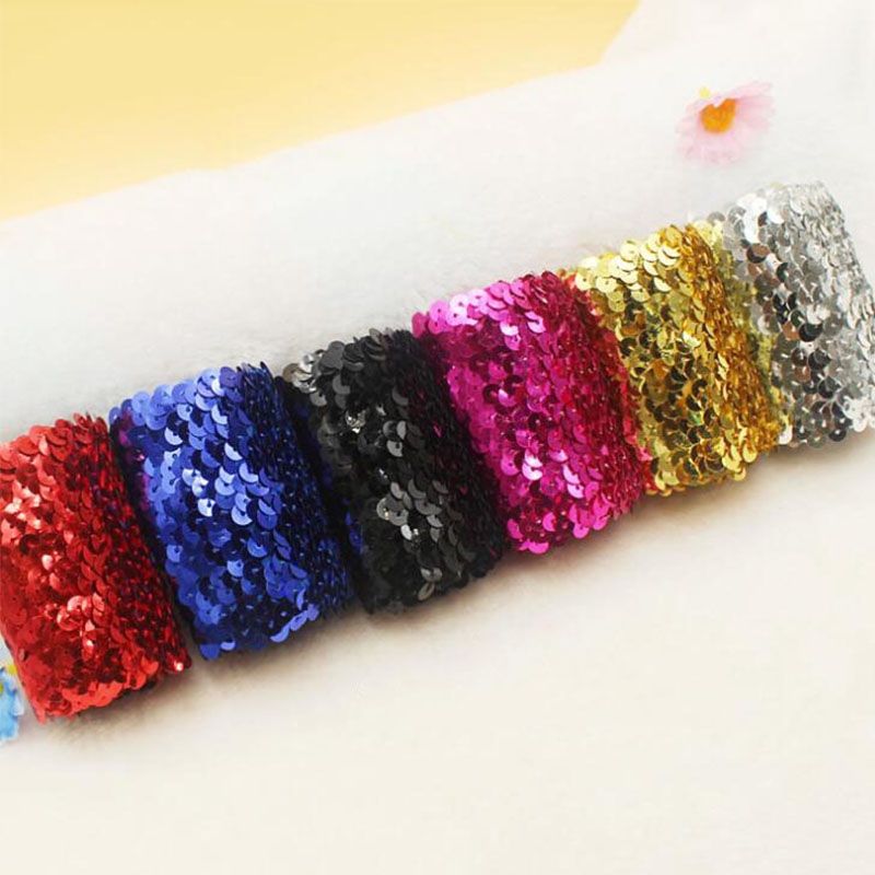 2M SEQUINS Sequined Dance Belt Bracelet headband Stretch Sewing Trim DIY Craft