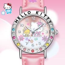 Disney Top Brand Original Cat Girls Quartz Rhinstone Luminous Hands Waterproof Pink Red Kid