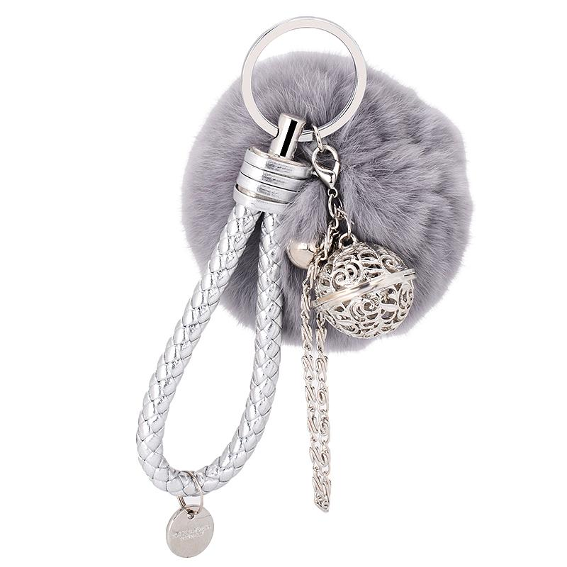 Women Hollow Ball Bell Chain Pompom Pendant Braided Rope Keychain Bag Ornaments Cute Toy Gifts Keychain Fur Ball Pompom Stuffed