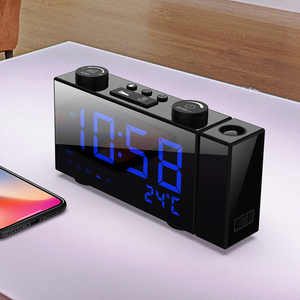 Image 2 - Alarm Clock Digital Table Clock with Projection FM Radio Dual LED Clock Projector Electronic Desk Clocks with Snooze Thermometer