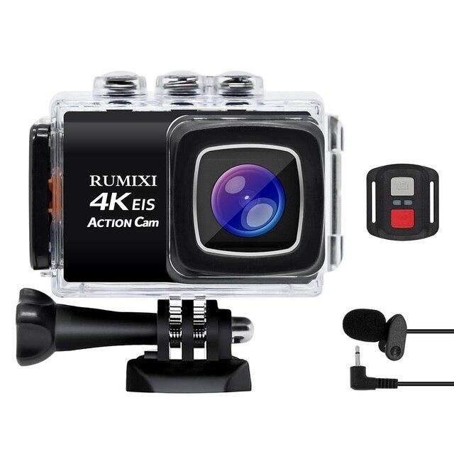 Ultra HD 4K 170D עמיד למים ספורט פעולה מצלמה עם EIS המובנה בתפקוד WiFi מרחוק בקר וידאו שיא מצלמה אבזר