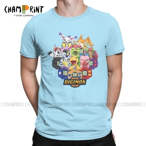 Men Adventure Team T Shirt Digimon Nostalgic Anime 100% Cotton Clothes Humorous Short Sleeve O Neck Tees Plus Size T-Shirts