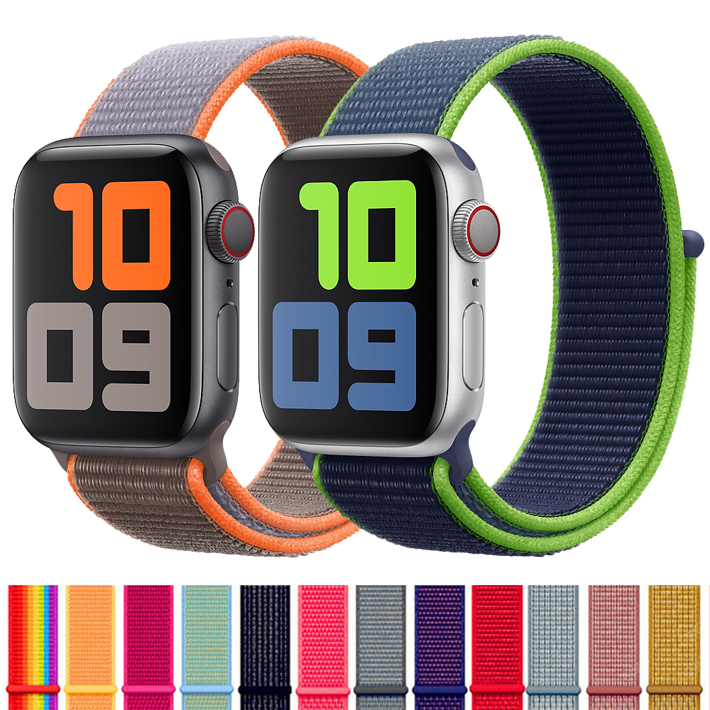 Strap For Apple Watch Band 44 Mm 40mm 5 4 3 Nylon Loop Bracelet Watchband Iwatch Band 38mm 42mm Applewatch Accessories 40 44mm