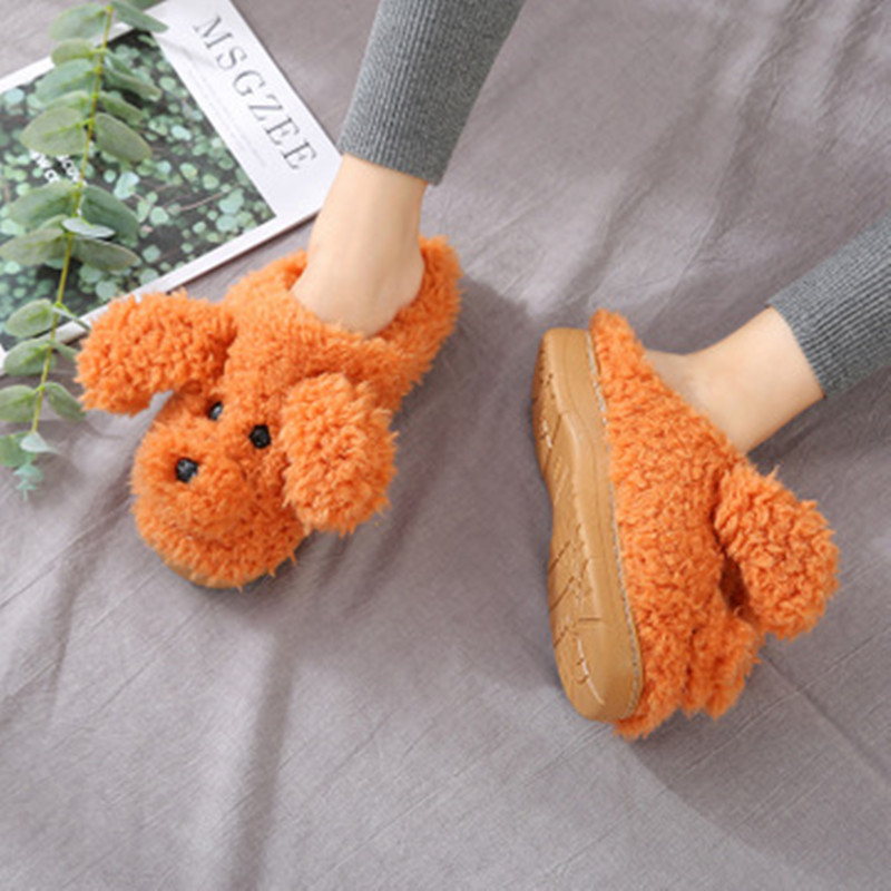 2019 New Autumn Winter Women Slippers cute cartoon puppy teddy wool cotton Home Soft anti-slip Fur Indoor Floor women Men Shoes 3